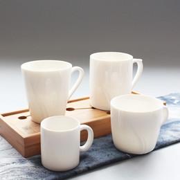 Wholesale Wholesale White Teacups - Wholesale- Pure white simple family ceramic cup, coffee mug, teacup, High quality 4 fashion designs porcelain parent-child lovers cup
