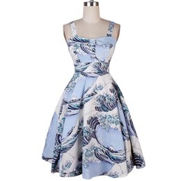 Wholesale Womens Cotton Robe L - Womens 50s 60s Sexy Hepburn Robe Vintage Dress Waves Printing Pleated Summer Casual Backless Elegant Straps Dresses