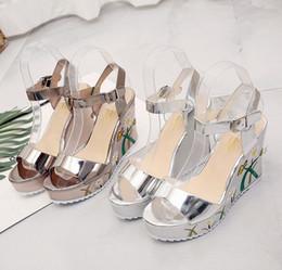 Wholesale Peep Toe Ankle Wedge - Sandals, women in the summer of 2017 the new word buckle embroidery platform peep-toe heels joker female sandals