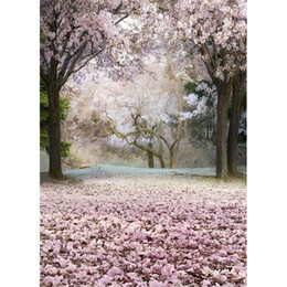 Wholesale Paint Photo Backdrop - Fancy Pink Cherry Blossom Photography Backdrop Flower Petals Outdoor Spring Scenic Kids Children Studio Photo Shoot Background