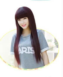 Wholesale Hairpieces For Black Women - Women Whole Head Wig Straight Hair Realistic Fashion Wig Synthetic Fake Hair Extension Flat Bangs Hairpiece for Girls