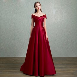Wholesale Short Sleeved Formal Dresses - SSYFashion 2017 New Simple Evening Dress The Bride Married Red Lace Satin V-neck Cap Sleeved Floor-length Prom Party Formal Gown