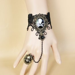 Wholesale Skull Ring Ancient - Free Shipping Gothic Black Lace Bracelet Restoring Ancient Ways Pirate Skull Hand Accessories Led Ring Chain GS066