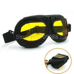 Wholesale Leather Helmets Goggles - AMBER LENS WWII RAF VINTAGE PILOT MOTORCYCLE BIKER CRUISER HELMET BLACK GOGGLES