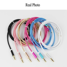 Wholesale Nylon Hdmi Cable - Aux Cable 3.5mm to 3.5 mm Nylon Wire Gold-plated Plug Male to Male Audio Cable for Car Mobile Phone MP3   MP4 Headphone Speaker
