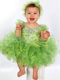 Wholesale Lime Green Short Ball Gown - Toddler Glitz Pageant Dresses 2017 with Ruffled Sleeves and Shiny Crystals Lime Green Baby Cupcake Pageant Dress for Little Girls