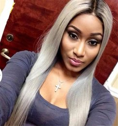 Wholesale Roots Lace Front Wig - Hair Straight Ombre Color Wig 1B Grey Full Lace Human Hair Wig with Dark Black Roots 100% Brazilian Remy Hair Wig