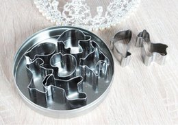 Wholesale Small Animal Wholesale Supply - Stainless steel cookie biscuits cutter Cute animal shape cake mold 8 pcs set DIY baking supplies small kitchen tools