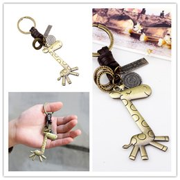 Wholesale Giraffe Rings - 2017 new leather key ring cute giraffe alloy key ring accessories creative small gifts size7.5 * 3.5CM 100pcs sale