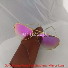 Wholesale Pink Rose Flash - High quality Mens Womens Designer Pilot Sunglasses Sun Glasses Eyewear Gold Frame Rose Red Gradient Mirror Flash Lens 62mm With brown Box