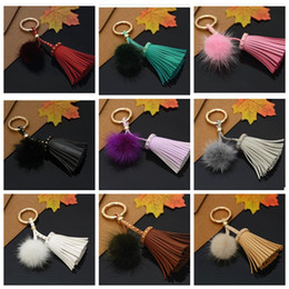 Wholesale Wholesale Mink Bags - Fashion Tassel Keychain Gold Metal Keyring Tassel Key Chain Mink Fur Pom Keychain Key Holder Bag Charm Pendant KKA2661