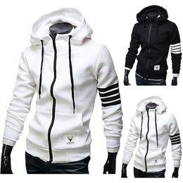 Wholesale mens jackets designs - Wholesale- Men Hoodies Sweatshirt Casual Male Hooded Jacket Long Sleeve Slim Design Mens Zipper Hoodie Black  White Color with pocket