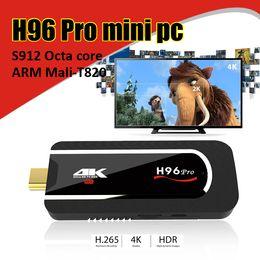 Wholesale Google Tv Box Dongle - H96 pro Mini PC Amlogic S912 64bit Octa Core android 7.1 tv box 2G 8G Support 4K HDMI TV Stick Dongle Full HD