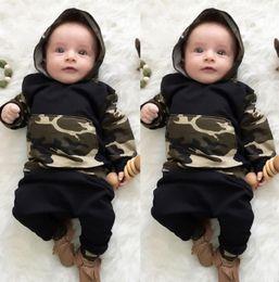 Wholesale Boys Zebra Harem Pants - Winter Newborn Baby Boys clothing Camouflage Costumes kids boys clothes set Hooded Tops Harem Pants Little boys Clothes 0-3T