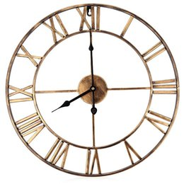 Wholesale Oversized Art - Wholesale-18.5 Inch Oversized 3D Iron Decorative Wall Clock Retro Big Art Gear Roman Numerals Design The Clock On The Wall