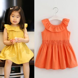 Wholesale Korean Girls Straight Dress - 2017 Summer sweet flouncing Girls Princess Dresses sundress Vest Skirt New Fashion Korean Girls Clothes Children Beach Dresses Lovekiss A102
