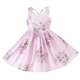 Wholesale Wholesale Floral Dresses - Everweekend Girls Summer Floral Dress Ruffles Halter with Backless Sweet Party Dress Cotton Children Pink and Blue Dress Can Mix Size