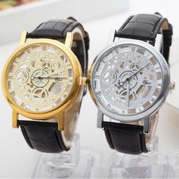 2019 женщины смотрят прозрачно Мода двухсторонний выдалбливают имитация механические часы графический пара кожа кварцевые прозрачные часы женщина мужчина бизнес наручные часы дешево женщины смотрят прозрачно