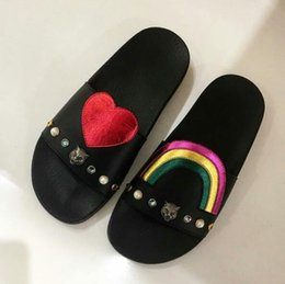 Wholesale Rainbow Sandals Shoes - 100% Genuine leather Handmade Shoes Women's flats Slippers Fashion Peach heart rainbow tiger head diamond sandals Woman Rivet Slippers