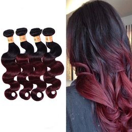 Wholesale 24 Inch Red Hair Extensions - PASSION Burgundy Ombre Malaysian Body Wave Virgin Hair Color 1B 99J Malaysian Hair Extension 4 Bundles Wine Red Ombre Remy Human Hair Weaves