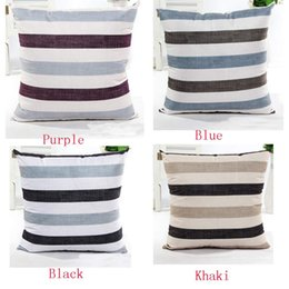 Wholesale Flax Weaving - Wholesale- Taotown 2016 Fashion Stripe Bed Home Decorative Flax Throw Pillow Case 5 Styles Square Home Accessories 45cm x 45cm
