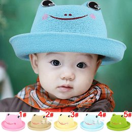Wholesale Children Cap Hat Frog - 2017 male new and female children basin CAP baby sun cute cartoon frog Fashionable Panama hat