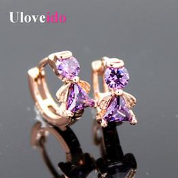 Wholesale Luxury Jade Jewelry - Uloveido 2016 Luxury Rose Gold Plated Angel Stud Earrings for Women Kids With Purple Blue Stone Jewelry Boucles D'oreille YR001