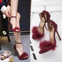 Wholesale sandals sex - 2017 Sex Summer Flock women sandals real Feather ladies Thin high heels suede woman shoes open toe Pumps