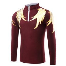 Wholesale United Wings - 2017 explosive clothing Europe and the United States wings printing men's long sleeves POLO shirt T-shirt solid color zipper collar collar