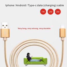 c transmission Promotion 3 M Iphone / Android / Type-c données câble de charge Nylon tressé téléphone mobile de transmission de données Câble de charge Compatible avec Plus Ipad
