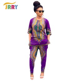 cbde6663eca Wholesale- 2016 New Vintage African Traditional Style Two Pieces Women  Jumpsuits Half Sleeve Top Long Bodycon Pants Ladies Romper