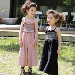 Wholesale Overall Jeans For Kids - Hug Me Girls Jeans for Kids Clothing 2017 Summer Ruffle Wide Leg Pant Korean Fashion Girls Overalls EC-833