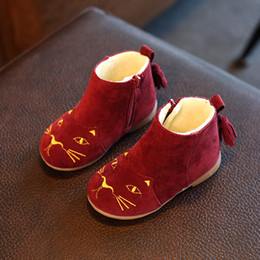Wholesale High Boots For Kids - New Arrival Cute Cat Princess Girl Boots Winter Thicken Kids Ankle Snow Boots High Quality Children Shoes For Christmas