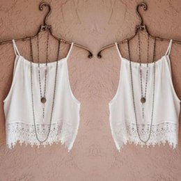Wholesale best spaghetti - Wholesale- brandy melville tops spaghetti strap ladies camisole white lace bralette sexy women summer crop top Best free shipping