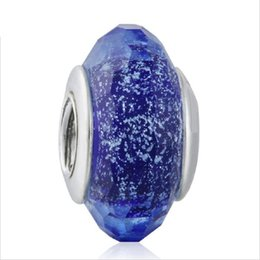 Wholesale Fascinating Holidays - TopeasyJewelry Christmas charm beads Blue Fascinating Iridescence Murano Glass Charm 925 Sterling Silver Faceted Glass Bead Diy Accessories
