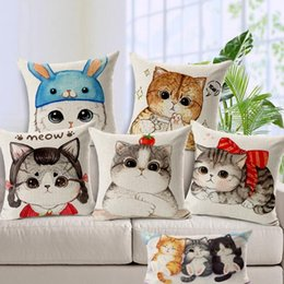 Wholesale Cushions Cover Green For Sofa - cute cat cushion cover kawaii kittens modern throw pillow case for sofa couch square rectangle almofada cotton linen cojines