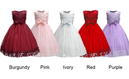 Wholesale Baby Girl Lace Christening Dresses - 2018 Vintage Lovely Burgundy Baby Infant Toddler Baptism Clothes Flower Girl Dresses Knee Length With Lace Bow Flowers Tutu Ball Gowns Cheap