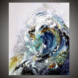 Wholesale Abstract Waves Painted Walls - KGTECH Rolling Ocean Waves Art Blue Sea Waters Painting Handmade Abstact Styel Unframed Wall Art Decoration for Home