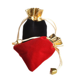 Wholesale Beaded Pouches - 2016 hot sell 2Colors 2sizes Velvet Beaded Drawstring Pouches Jewelry Packaging Christmas Wedding Gift Bags Black Red JF-750