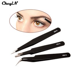Wholesale Stainless Steel Extension - Wholesale-3pcs set Stainless Steel Eyebrow Tweezer Eyelash Extension Set Nail Tools Cosmetic Makeup Beauty Tweezers Face Hair Remover