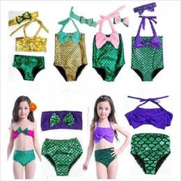 Wholesale Fish Bathing Suits - Baby Mermaid Swimsuit Bow Headband Kids Mermaid Tail Swimwear Bowknot Beachwear Girls Mermaid One Piece Bikini Fish Tail Bathing Suit G22