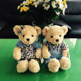 Wholesale Plush Couple Doll - 2PCS Valentine Teddy Bear Plush Toys Stuffed Couple Bears Soft Dolls Toy for Children Girls Gifts Collection