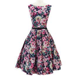 Wholesale Print Audrey - Wholesale- Floral Audrey Hepburn 50s Dress Print Vintage With Belt Skater Dress Robe Sleeveless Plus Size S-XXL vestidos feminino D51116