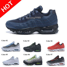 Wholesale Hard Silver - Drop Shipping Hight Quality New Mens Air Sports 95 Running Shoes Black Men best Athletic walking Tennis Shoes Grey Man Training Sneakers