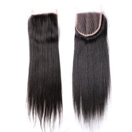 Wholesale Piece Online - Remy Peruvian Human Hair Lace Closure Silk Straight 1B 4x4 With Baby Hair Unprocessed Virgin Lace Front Piece Online Queenlike 8A Golden Gra