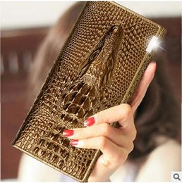 Wholesale Distressed Leather Wallet - European and American style long lady crocodile grain leather wallet for female wallet leather hand bag womens wallet
