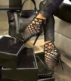Wholesale Ankle Wrap Boots - 2017 Gladiator Roman Sandals Summer Rivet Studded Cut Out Caged Ankle Boots Stiletto High Heel Women Sexy Shoes Bootie SIZE:US4-9 SX45