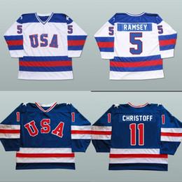 Wholesale Usa Mike - 1980 USA Custom Hockey Jerseys #5 Mike Ramsey #9 Neal Broten #25 Buzz Schneider Men's 100% Stitched Team USA Throwback Hockey Jersey