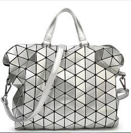 Wholesale Sequin Fold - Wholesale- 2016 Women Laser BAOBAO Bag Geometry Package Sequins Saser Plain Folding Handbags Briefcase Shoulder Bag Women Tote bag baobao