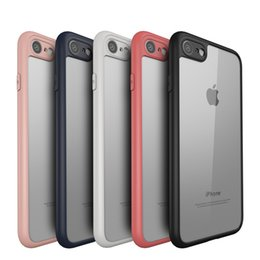 Wholesale Bumper Iphone Pink Black - Ultra-thin Slim Soft Case For iphone 7 6 6S 8 Plus X Transparent PC cover Matte Bumper Frame Black Red Pink Navy Blue